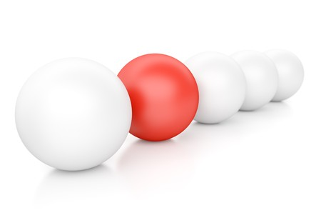 individuality: 3d Spheres Isolated on White. Individuality and Leadership