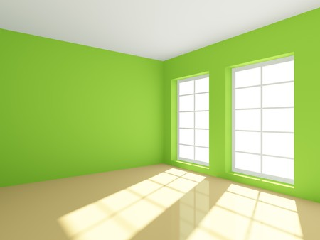 interior design living room: 3d rendering of green empty room Stock Photo