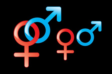 male and female gender symbols on black background Stock Photo - 7041355