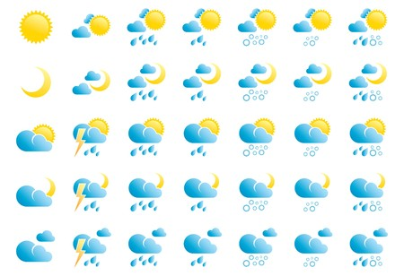 Weather Icons on White Background Stock Vector - 7041358