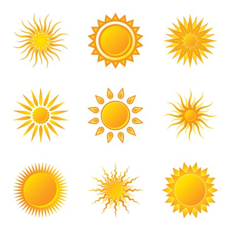 Sun Icons on White Background Stock Vector - 7041357