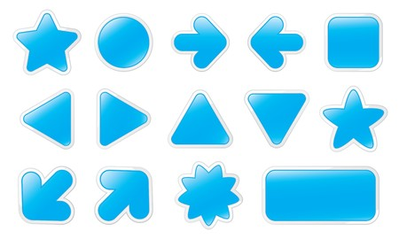 Blue Web Buttons on White Background Vector