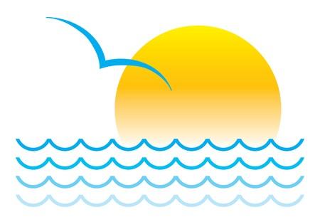 gaviota: S�mbolo de verano aislada en blanco