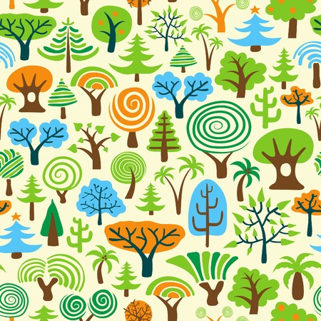 Tree Seamless Wallpaper or Background Vector