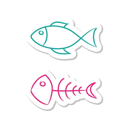 Fish Icons on White Background Illustration