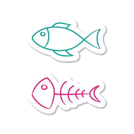 leven en dood: Vis pictogrammen op witte achtergrond Stock Illustratie