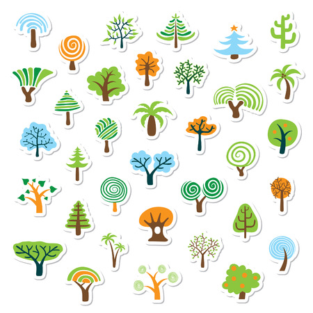 Boom icon set of icons natuur  Stock Illustratie