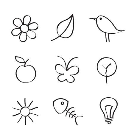 contorno: Iconos de la naturaleza, sobre fondo blanco