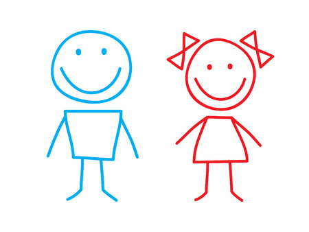 Simple Illustation of Girl and Boy
