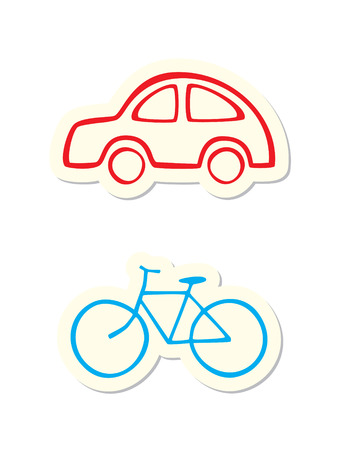 Vehicle Icons on White Background