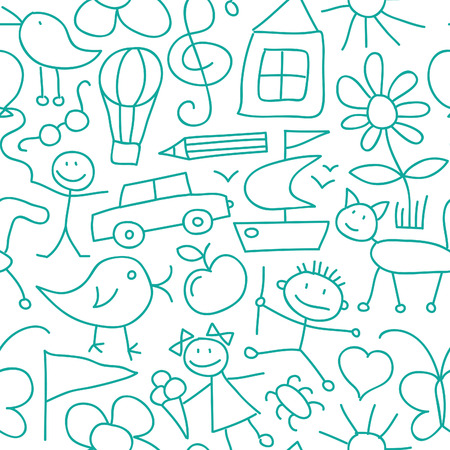 Seamless Kid Pattern or Background Vector