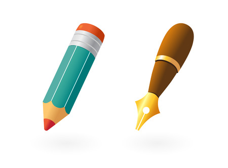 ołówek: Pióro i Ołówek na biaÅ'ym tle