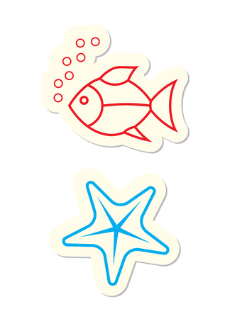 Fish and Starfish Icons on White Vector