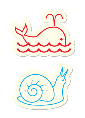 Whale and Snail Icons on White Stock Vector - 7640059