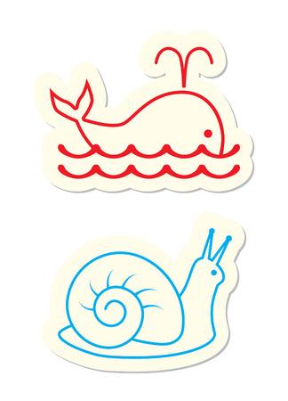sea slug: Whale and Snail Icons on White