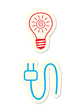 Electricity Icons Isolated on White Vector
