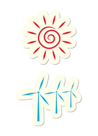 rooster and morning sun: Sun and Turbine Icons Isolated on White Illustration