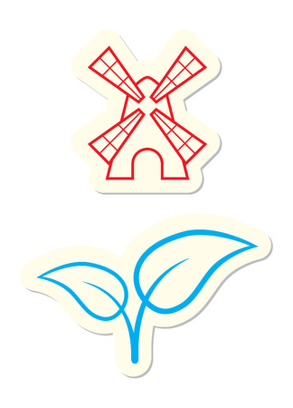 Windmill and Leaves Icons Isolated on White Vector