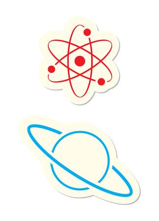 Átomo e iconos de Planet aisladas en blanco