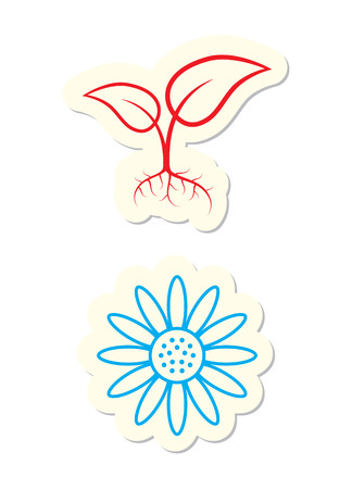 Floral Icons Isolated on White Stock Vector - 7679866