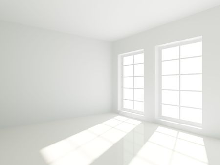 modern living room: 3d Empty White Room with Windows