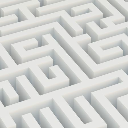 3d Illustration of White Maze Background