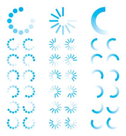 Blauwe ronde voortgangs indicatoren Vector Illustratie