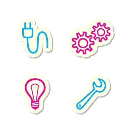 Engins, ampoule, Spanner et les icônes de connexion