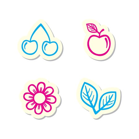 Cherry, Apple, Flower and Leaf Icons