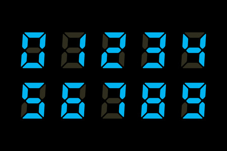 digital numbers: Blue Digits Display Illustration