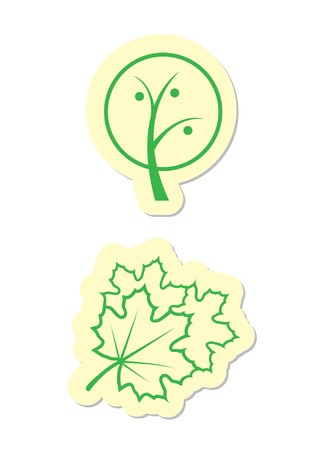 Green Tree and Maple Leaf Icons Stock Vector - 8002234