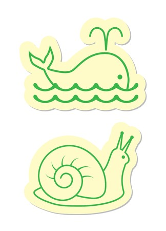 Whale and Snail Icons Vector