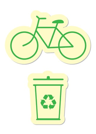 Bicycle and Recycle Icons Vector