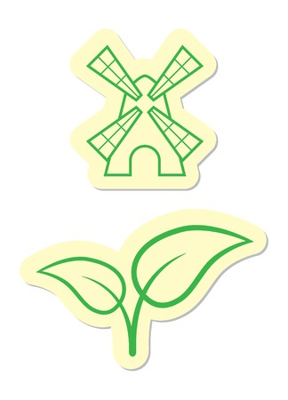 Windmill and Leaves Icons Stock Vector - 8002178