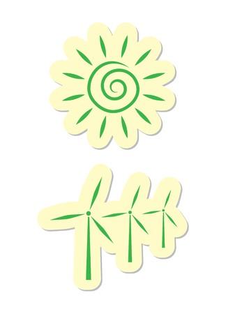 Sun and Turbine Icons Vector