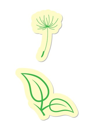 Dandelion and Leaf Icons Stock Vector - 8002183