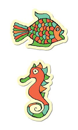 Fish and Seahorse Icons Vector