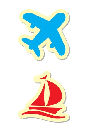 Plane and Ship Icons Vector