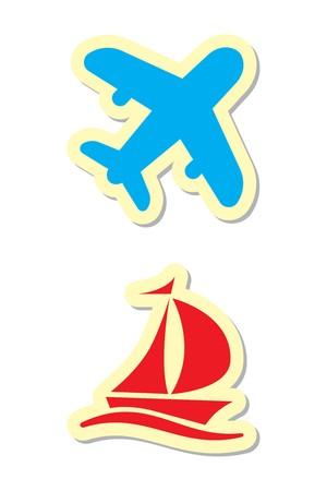 yacht isolated: Plano e iconos de env�o