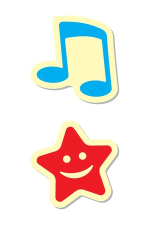 Note and Star Icons Vector