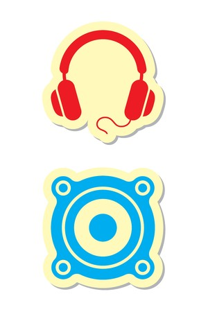 Headphones and Speaker Icons Vector