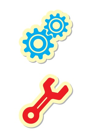 Gear and Wrench Icons Vector
