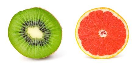 Kiwi and Grapefruit Isolated on White photo