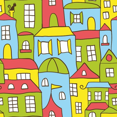 Seamless House Background Stock Vector - 8220843