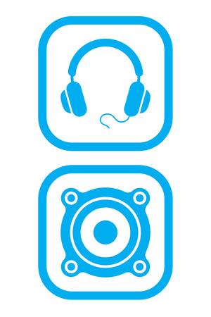 Headphones and Speaker Icons Vector