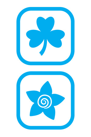 Clover and Flower Icons Stock Vector - 8394045
