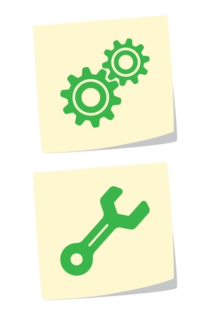 Vector Gear and Wrench Icons Stock Vector - 9370419