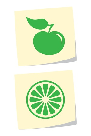 apple slice: Vector Apple and Orange Icons Illustration