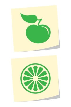 orange cut: Vector Apple y los iconos de naranjas Vectores