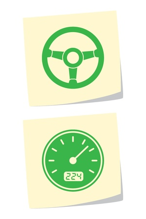 kilometer: Vector Wheel and Speedometer Icons